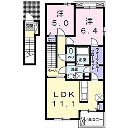静岡県浜松市中区葵西4丁目の賃貸アパートの間取り