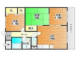 ディアコート藤井寺[3階]の間取り