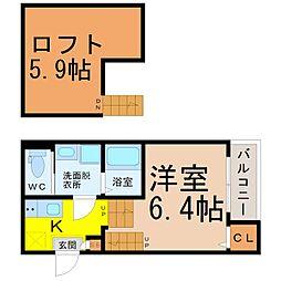 (仮称)熱田区三番町(2)新築アパート 1階1Kの間取り