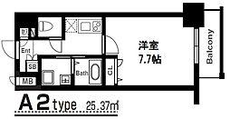 アーバンパーク梅田イースト 5階1Kの間取り