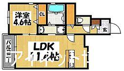 JR鹿児島本線 吉塚駅 徒歩16分の賃貸アパート 1階1LDKの間取り