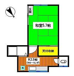 神奈川県横浜市鶴見区寺谷2丁目の賃貸アパートの間取り