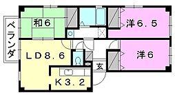 フォブール北井門A棟[201 号室号室]の間取り