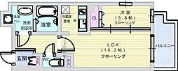 アヴェニール北浜 6階1LDKの間取り