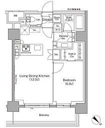 東京メトロ有楽町線 月島駅 徒歩1分の賃貸マンション 8階1LDKの間取り
