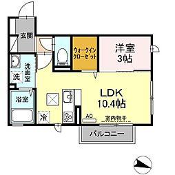 19ルーナー 1階1LDKの間取り