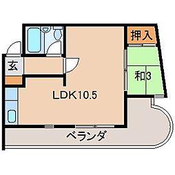 サニーハイツ花山[3階]の間取り