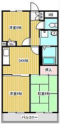 神奈川県川崎市中原区下新城1丁目の賃貸マンションの間取り
