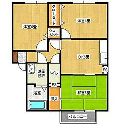 福岡県北九州市八幡西区木屋瀬1丁目の賃貸アパートの間取り