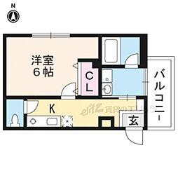 京阪本線 伏見桃山駅 徒歩8分の賃貸アパート 2階1Kの間取り