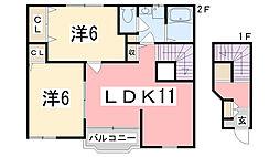 兵庫県高砂市阿弥陀町生石の賃貸アパートの間取り