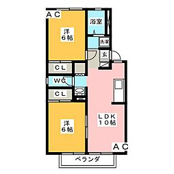 愛知県岡崎市竜美南1丁目の賃貸アパートの間取り