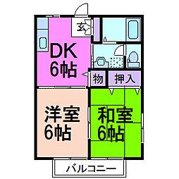 ラフォーレ・梢B棟[2階]の間取り