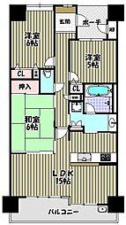 大阪府堺市西区上野芝町3丁の賃貸マンションの間取り