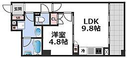 エルセレーノ上本町レジデンス 4階1LDKの間取り