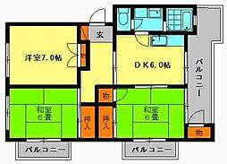 第2的野ビル[401号室]の間取り