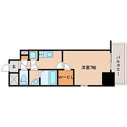 阪神本線 尼崎駅 徒歩6分の賃貸マンション 10階1Kの間取り