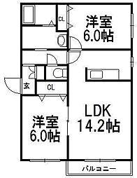 北海道札幌市西区発寒四条3丁目の賃貸マンションの間取り