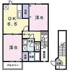 千葉県茂原市木崎の賃貸アパートの間取り