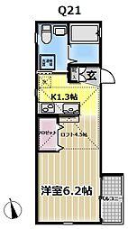 クリエイティブ テラス横浜西谷 2階ワンルームの間取り