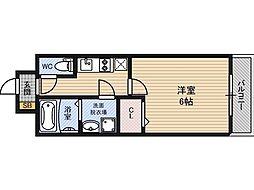 レジュールアッシュ京橋 10階1Kの間取り