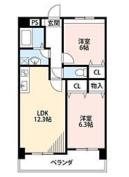 三島マンションI[4階]の間取り