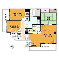 東京都大田区上池台1丁目の賃貸マンションの間取り