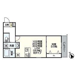 名古屋市営名港線 日比野駅 徒歩6分の賃貸アパート 3階1LDKの間取り