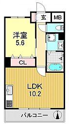 ラビア背戸口[2O5号室号室]の間取り
