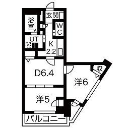 ラクレイス西新レジデンシャルタワー[1407号室]の間取り