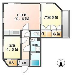 愛知県清須市西枇杷島町弁天の賃貸マンションの間取り