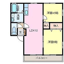レトアDUO B棟[202号室号室]の間取り