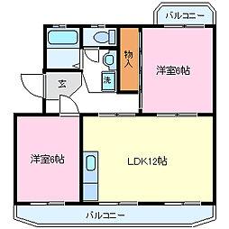 静岡県裾野市二ツ屋の賃貸マンションの間取り