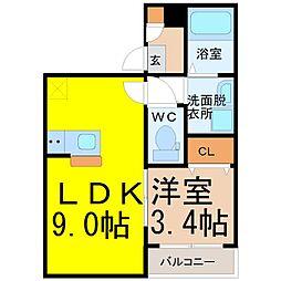 愛知県名古屋市中川区畑田町3丁目の賃貸アパートの間取り
