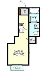 プランドール新横浜[201号室号室]の間取り