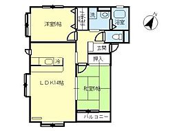 JR東北本線 国府多賀城駅 徒歩8分の賃貸アパート 1階2LDKの間取り