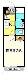 東京都国立市中3丁目の賃貸アパートの間取り