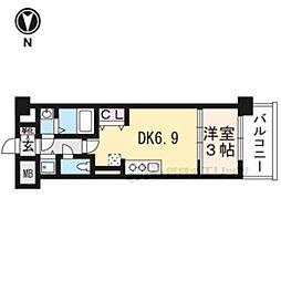 THE GARNET MILLENNIUM KYOTO九条烏丸210 2階1DKの間取り