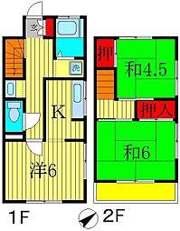 [テラスハウス] 千葉県松戸市西馬橋5丁目 の賃貸【/】の間取り