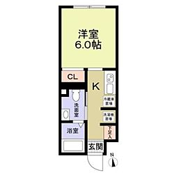 東武東上線 大山駅 徒歩6分の賃貸マンション 5階1Kの間取り