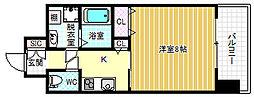 エスキュート梅田中崎町 13階ワンルームの間取り