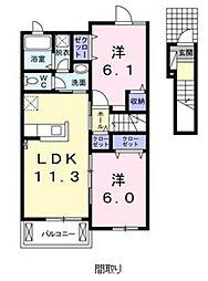広島県広島市佐伯区五日市町下河内の賃貸アパートの間取り