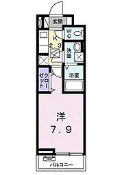 グローヴ テラス−2 2階1Kの間取り