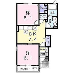 ベルコート桜A[1階]の間取り