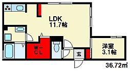 西鉄天神大牟田線 下大利駅 徒歩5分の賃貸アパート 3階1LDKの間取り