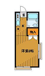 東京都国分寺市戸倉1丁目の賃貸アパートの間取り