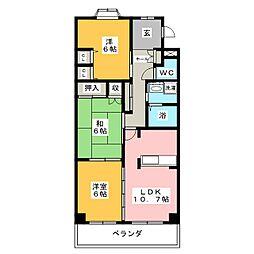 パルテール花菱I[2階]の間取り