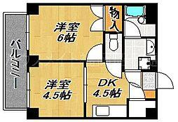 ビバリーハウス南福岡6A[4階]の間取り