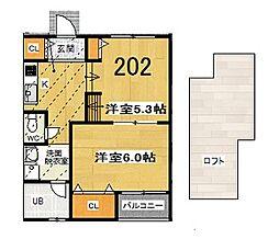 グランビア富木駅前(2Kロフト付)[202号室]の間取り