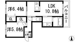 兵庫県宝塚市口谷西1丁目の賃貸マンションの間取り